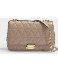 MICHAEL Michael Kors - Sloan Large Chain Shoulder Bag In Truffle Quilted Lambskin - Lyst