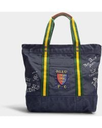 Polo Ralph Lauren - Script Large Tote In Navy Blue Calfskin - Lyst