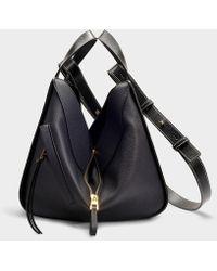 Loewe Hammock Small Bag In Midnight Blue And Black Calfskin
