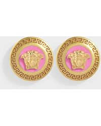 Versace - Small Medusa Earrings In Fuchsia And Gold Metal - Lyst