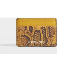 MICHAEL Michael Kors - Money Pieces Card Holder In Red Python Embossed Leather - Lyst