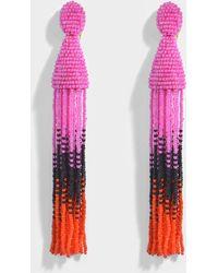 Oscar de la Renta - Long Ombre Beaded Tassel Clip Earrings - Lyst