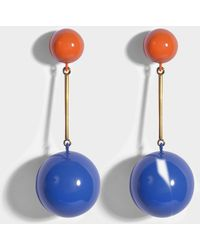 JW Anderson - Sphere Drop Earrings In Tangerine And Cobalt Eco Brass - Lyst