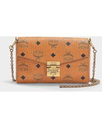 MCM - Millie Visetos Small Crossbody Bag In Cognac Coated Canvas - Lyst