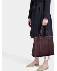 Polo Ralph Lauren - Big Lennox Tote Bag In Wine Calfskin - Lyst