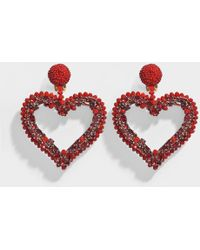Oscar de la Renta - Jeweled Heart Clip Earrings In Cardinal Red Synthetic Material - Lyst