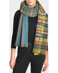 Acne Studios - Cassiar Check Scarf In Blue And Beige Squares Wool - Lyst