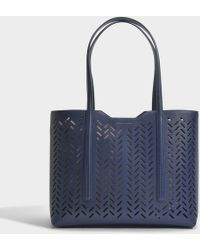 BOSS - Taylor Lasered Shopper Bag In Medium Blue Lasered Saffiano Printed Calfskin - Lyst
