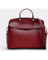 Furla - My Piper Medium Top Handle Bag In Red Calfskin - Lyst