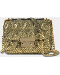 8ac0ff0d6c0c MICHAEL Michael Kors - Sloan Small Chain Shoulder Bag In Gold Pyramid  Quilted Maya Met Leather
