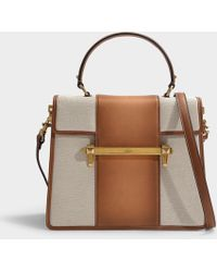 acaa0fd0288381 Valentino - Uptown Top Handle Bag In Natural And Bright Cognac Canvas And  Calfskin - Lyst