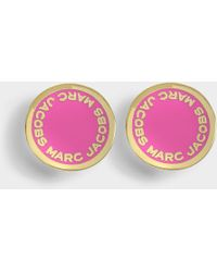 Marc Jacobs - Logo Disc Studs In Neon Pink Brass - Lyst