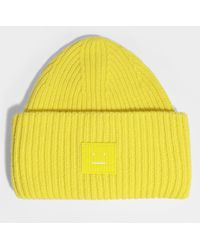 Acne Studios - Pansy N Face Beanie In Sharp Yellow Wool - Lyst