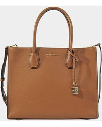 Michael Michael Kors Grand Sac Cabas Mercer Convertible en Cuir Grainé Rose 2ZA3M3z