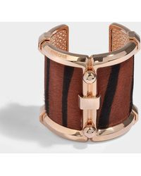 Roberto Cavalli - Aisna Bracelet In Rose Gold And Brown Metal And Calf Hair - Lyst