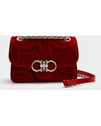 cde47102f36c Ferragamo - Gancio Quilting Medium Bag In Red Velvet - Lyst