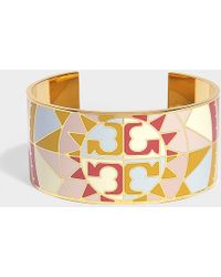 Tory Burch - Constellation Medium Enamel Cuff In Pink Metal - Lyst