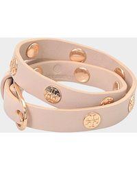 Tory Burch - Double-wrap Logo Stud Bracelet In Rose Gold Calfskin - Lyst