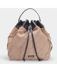 Jimmy Choo - Juno S Bucket Bag In Natural And Black Fringed Fine Woven  Raffia With e0b504892af6f