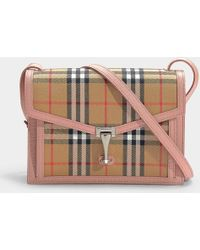 4d28e2b1de21 Burberry - The Macken Small Bag In Vintage Check Canvas And Pink Calfskin -  Lyst