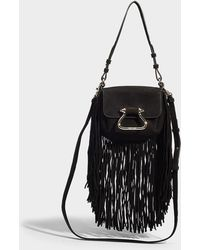 Roberto Cavalli - Shoulder Bag With Fringes In Black And Silver Calfskin - Lyst