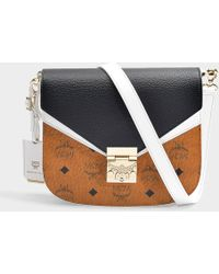 MCM - Patricia Visetos Leather Block Small Shoulder Bag In Cognac And Black Coated Canvas - Lyst
