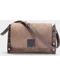 5620dbfb663 Jimmy Choo - Lockett Shoulder Bag In Grey And Dark Grey Calfskin - Lyst