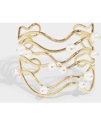 Aurelie Bidermann - Cheyne Walk Cuff Bracelet In Pearl And White Gold Plated Brass - Lyst