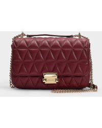 MICHAEL Michael Kors - Sloan Large Chain Shoulder Bag In Burgundy Quilted Lambskin - Lyst