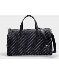 Karl Lagerfeld - K stripe Logo Nylon Weekender Bag In Black Nylon - Lyst 53a05c6e35f9f