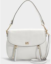 MICHAEL Michael Kors - Evie Medium Shoulder Flap Bag In White Calfskin - Lyst