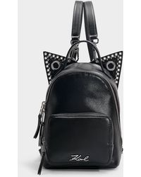 Karl Lagerfeld - K/rocky Choupette Mini Backpack In Black Calfskin - Lyst