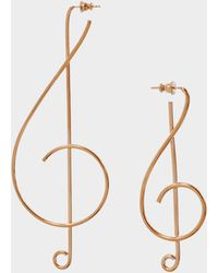 Stella McCartney - Treble Clef Earrings In Vintage Gold Brass - Lyst