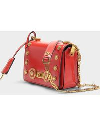 dcf2bac8aa Versace - Icon Shoulder Bag With Medusa Studs In Red Calfskin - Lyst