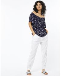 Monsoon - Riley Tapered Linen Trousers - Lyst