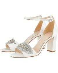 f882409ef Monsoon - Farin Feather Vamp Block Heel Bridal Sandals - Lyst
