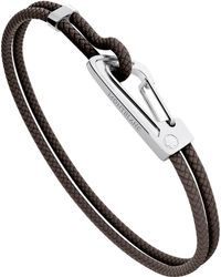Montblanc - Bracelet In Woven Brown Leather With Steel Carabiner Closing Male - Lyst