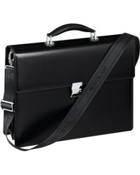 Montblanc - Meisterstück Double Gusset Briefcase - Shoulder Bag In Real Genuine Leather Business Bag Black - Lyst