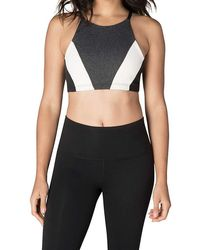 0ab48904a67a9 Lyst - Beyond Yoga Around The Colorblock Bra in Gray