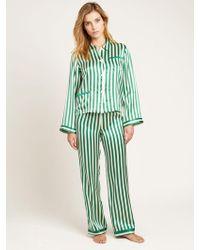 Morgan Lane - Ruthie Striped Silk-charmeuse Pajama Top - Lyst