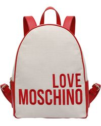Love Moschino Mochila De Tela Con Logo - Blanco