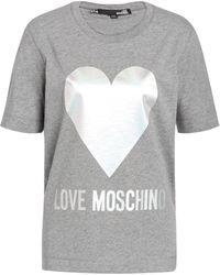 Love Moschino - Jersey T-shirt With Iridescent Logo - Lyst