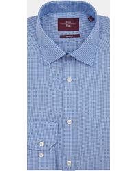 Moss Esq. - Regular Fit Blue Single Cuff Textured Shirt - Lyst