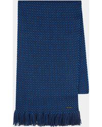 BOSS - Fionn Blue Knit Check Scarf - Lyst