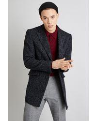 Moss London - Slim Fit Dark Grey Herringbone Overcoat - Lyst