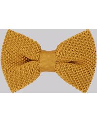 Moss London - Mustard Knitted Bow Tie - Lyst