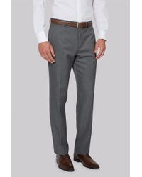 Moss Esq. - Regular Fit Machine Washable Grey Trousers - Lyst