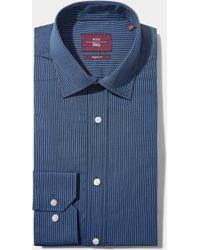 Moss Esq. - Regular Fit Blue Single Cuff Stripe Non Iron Shirt - Lyst