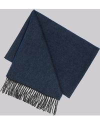 DKNY - Blue Plain Wool Scarf - Lyst