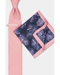 Moss London - Pink Floral Tie, Pocket Square & Tie Bar Set - Lyst